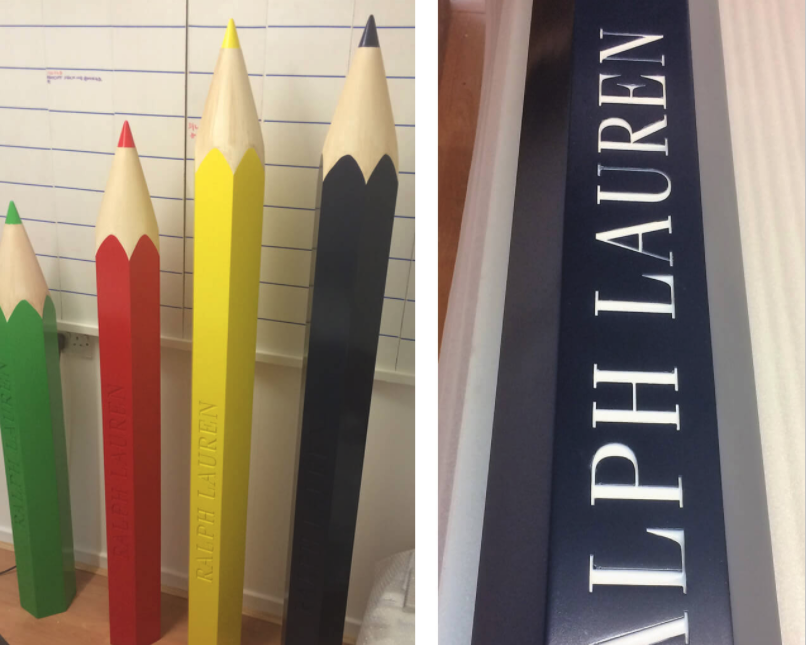 Ralph lauren giant pencil props in bright colours.