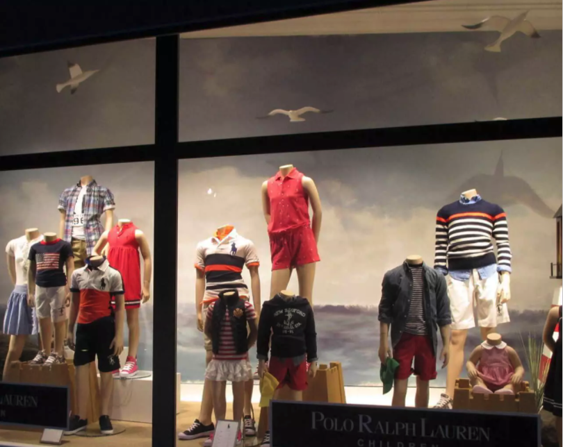 Ralph lauren retail display with seagull props.