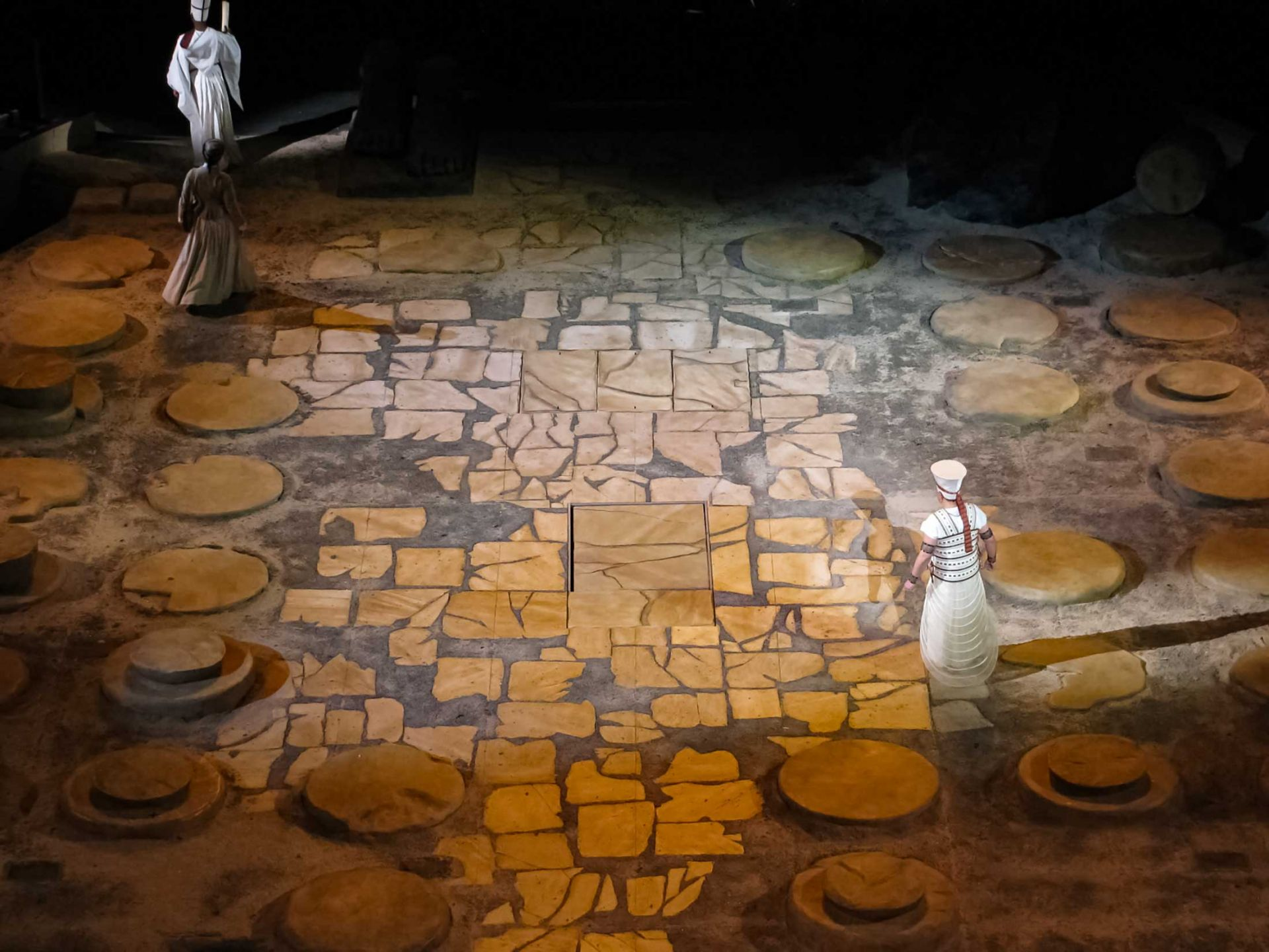Stage detail at aida opera.