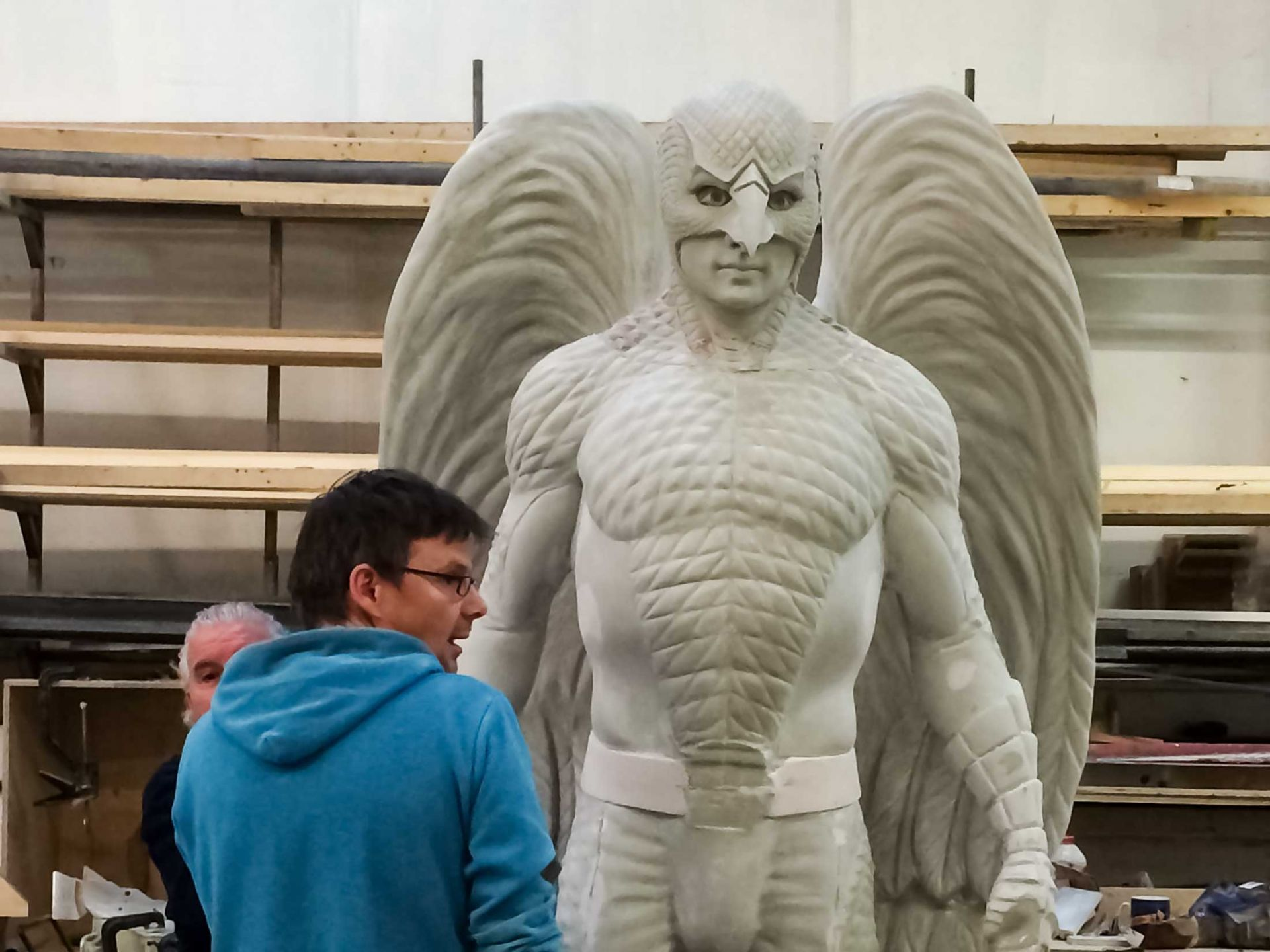 Giant sculpture of birdman moulded and casted.