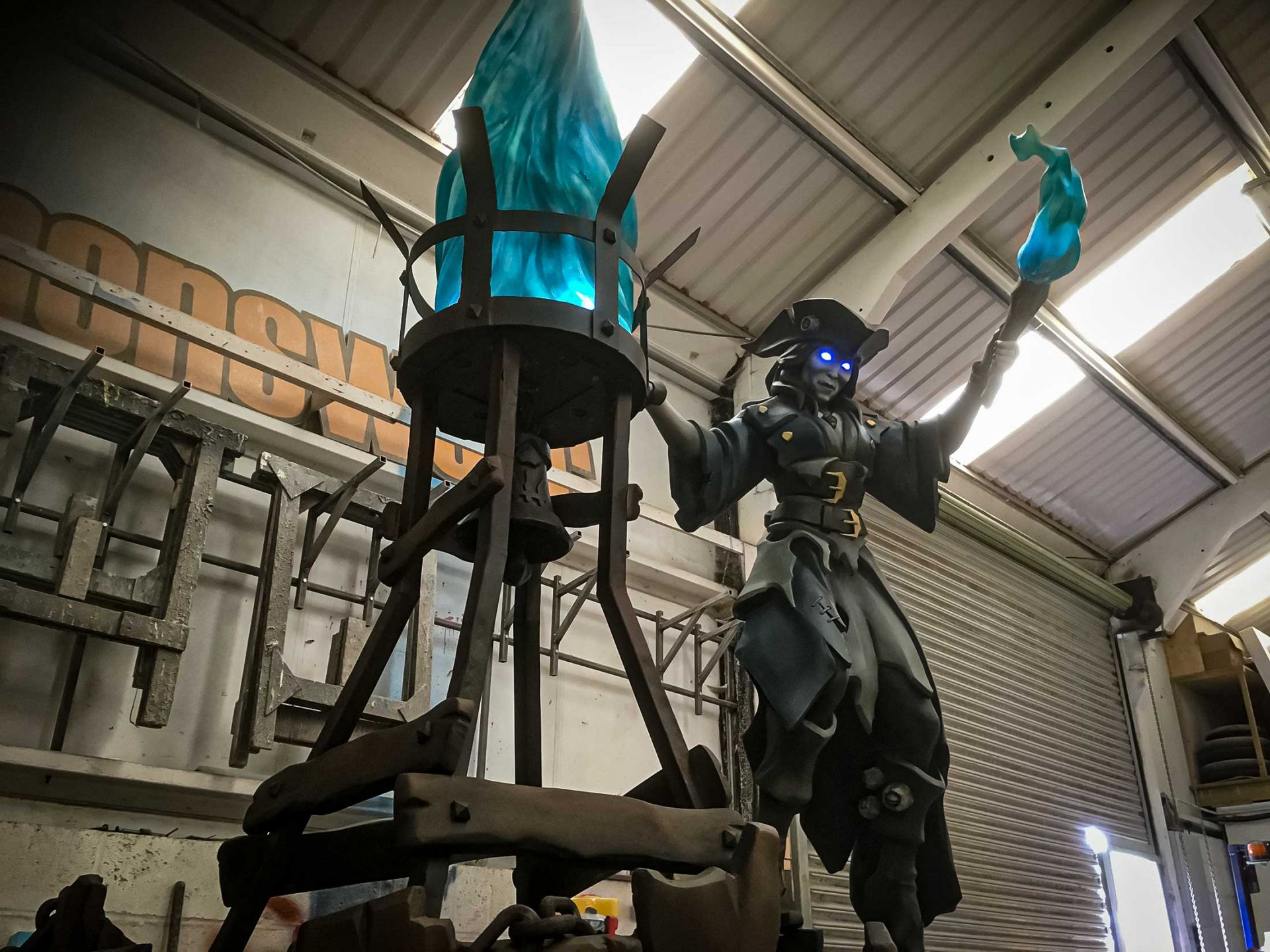 Sea of thieves belle sculpture in workshop after being completed.
